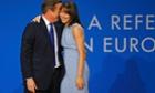 David Cameron embraces his wife Samantha after delivering his keynote address.