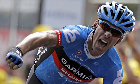 Photo: David Millar takes wins the 12th stage of the 99th Tour de France in Annonay-Dav�zieux in 2012. Photograph: Reuters.