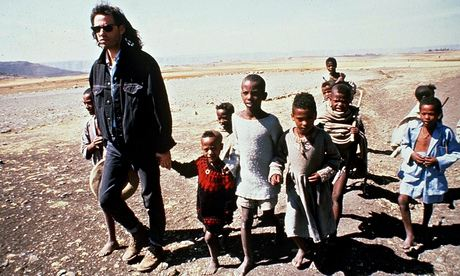 Bob Geldof was at the forefront of a new celebrity fundraising effort, sparked by the BBC's report on Ethiopia's famine. Photograph: Today/Rex Features