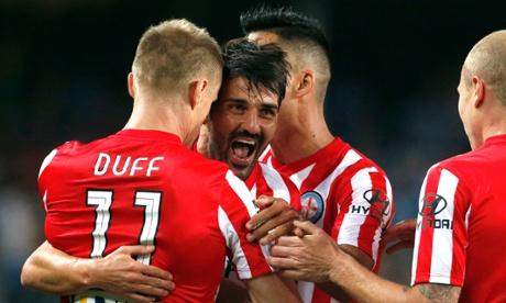 David Villa celebrates scoring on his debut for Melbourne City against Sydney FC at Allianz Stadium.