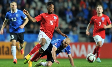 Raheem Sterling in action for England after coming off the bench during the 1-0 win over Estonia.