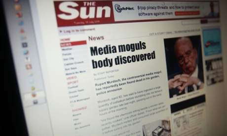 The Sun website after it was targeted by computer hackers, visitors to the website were redirected to a hoax story about Rupert Murdoch's suicide