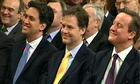 David Cameron with Nick Clegg and Ed Miliband