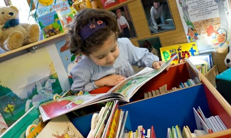 Small child in library