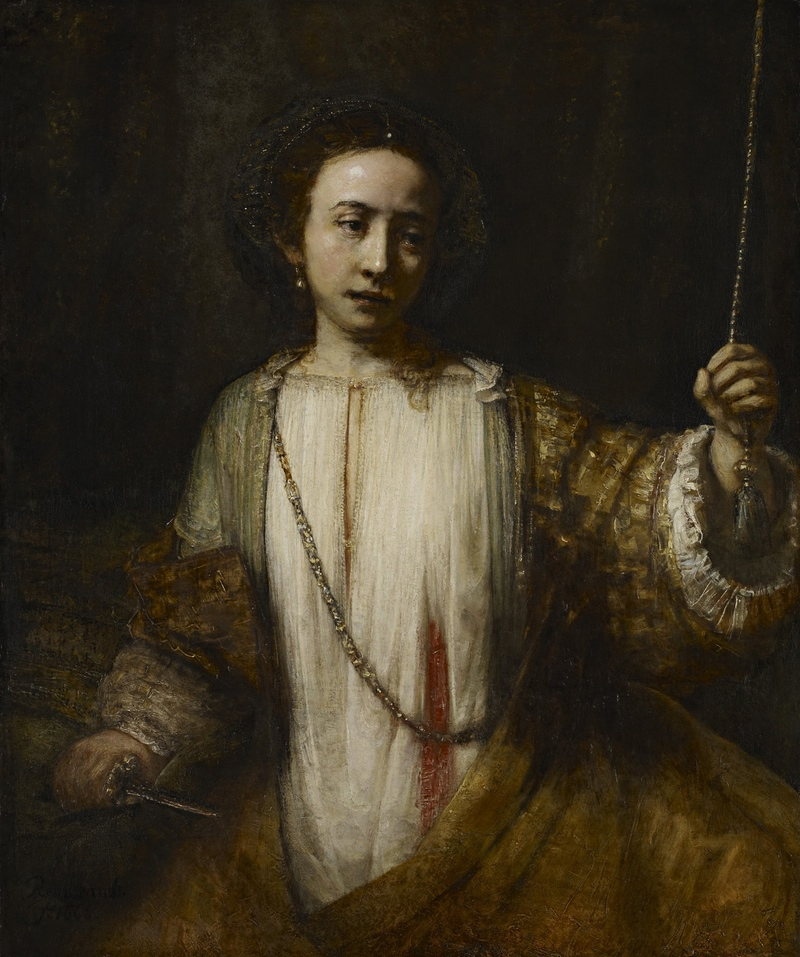 Detail from Rembrandt's The Suicide of Lucretia, 1666.
