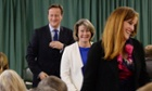 David Cameron leaving a meeting in Rochester after introducing the two candidates on the shortlist to be the Conservative candidate in the byelection, Anna Firth (centre) and Kelly Tolhurst
