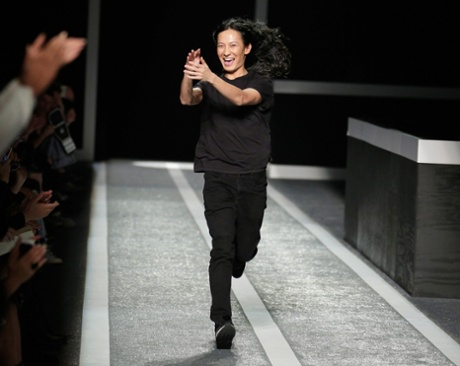 Alexander Wang on the runway after the show