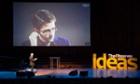Observer journalist and Open University professor John Naughton interviews Edward Snowden via Skype at the Observer Ideas festival at the Barbican 2014