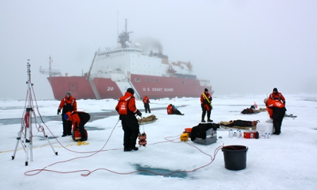 Teams of scientists set up equipment on sea ice in the Chukchi Sea, Alaska. Sea ice loss in the area has been linked to the large increase in temperatures