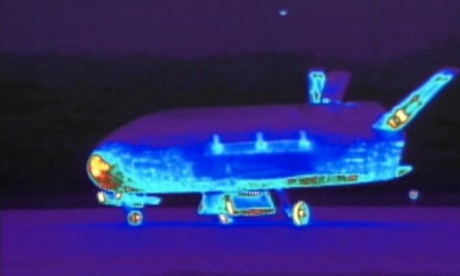 Still from video made available by the Vandenberg Air Force Base shows an infrared view of the X-37B unmanned spacecraft.