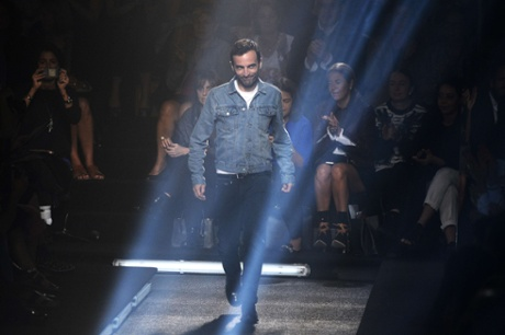 French fashion designer Nicolas Ghesquiere at the end of the Louis Vuitton show