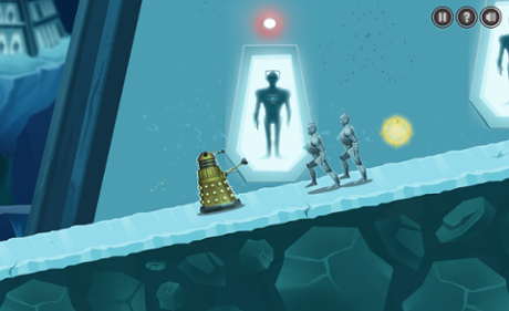 Children power up the Dalek to help it survive in the main platform game.