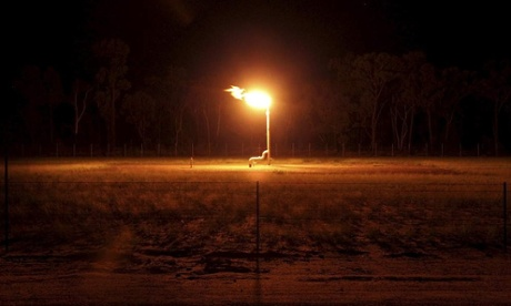 Coal seam gas flare at wells in Narrabri