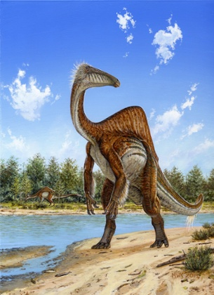 An artist's impression of the dinosaur Deinocheirus mirificus