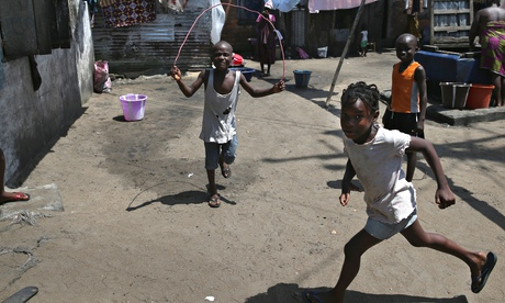 Children play in the Monrovia, Liberia. The World Health Organisation says that more than 4,500 peop