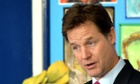 Nick Clegg speaking at Bellville primary school in Clapham yesterday
