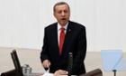 Turkey's President Tayyip Erdogan - not a cat -  addresses the Turkish Parliament.