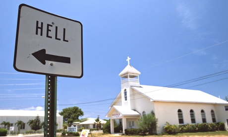 A sign pointing to the town of Hell in the Cayman Islands