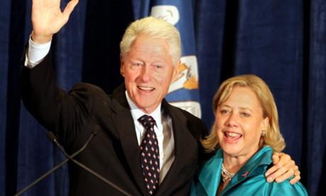 Former US President Bill Clinton and US Senator Mary Landrieu in Baton Rouge, Louisiana.