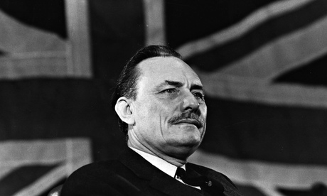 Enoch Powell in front of union flag, 1969