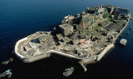 Hashima Island, Japan; an aerial view of Battleship Island
