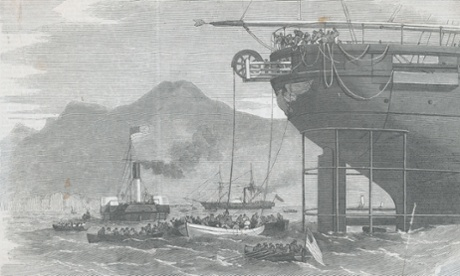 The first transatlantic telegraph cable is laid in 1858