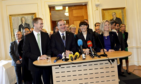 The new Swedish prime minister, Stefan Löfven, presents his new government in Stockholm