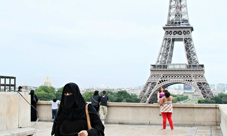 Muslim woman wearing the burqa in Paris