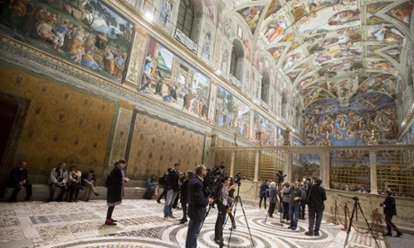 The Sistine Chapel with a new LED lighting display in Vatican City, 29 October 2014.