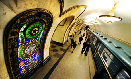 Novoslobodskaya metro station on the Moscow metro, one of the most heavily used underground transport systems in the world. Russia