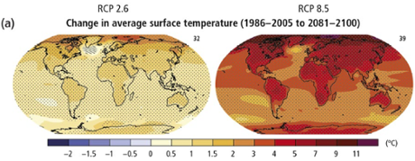 Projections for increase in average temperatures in 2081– 2100, above late twentieth century average temperature