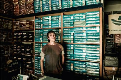 Ian Brown with vintage Adidas stock