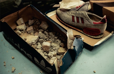 Soles of shoes which have perished over time