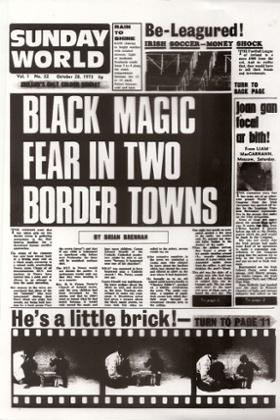 A primeira página Sunday World, de 1973.