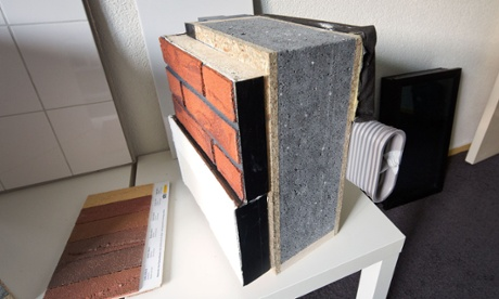 Materials used for wall isolation in renovated houses by Dutch Energiesprong in Arnhem.