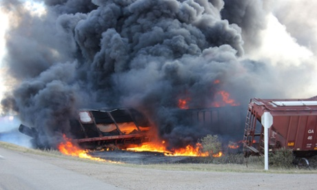 Train fire in Saskatchewan.