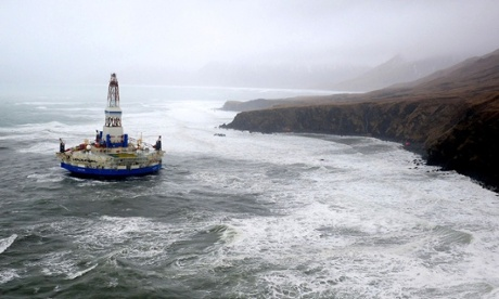 A Shell oil drilling rig which ran aground in Alaska on 1 January 2013. Photograph: Rex Features
