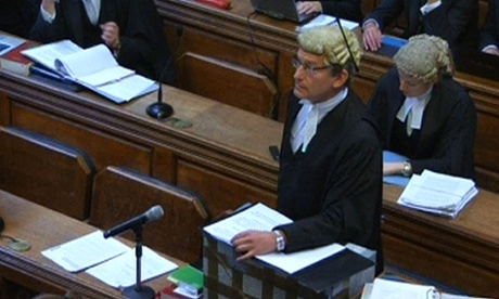 Richard Horwell, counsel for Max Clifford, addresses the bench during the televised hearing at the court of appeal.
