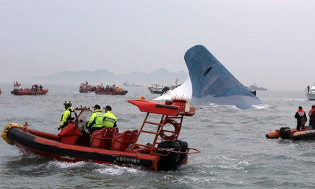 Rescue boats around the sunken Sewol ferry.