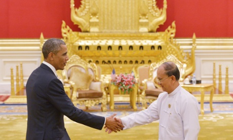 Thein Sein greets Barack Obama at the presidential palace. The US president has raised concerns over Burma's 'backsliding' reforms.