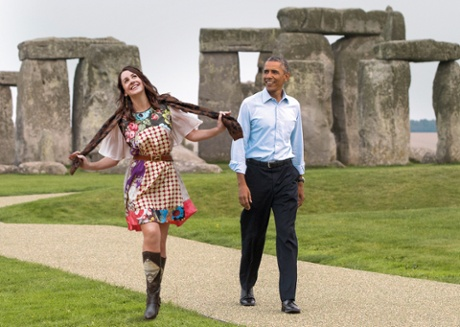 Lucy Siegle joins President Barack Obama as he tours Stonehenge in September, 2014.