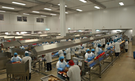 Sandwich production at the Greencore factory in Northampton