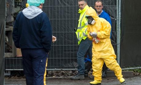 Um especialista vestindo uma roupa de proteção chega a uma exploração avícola em Hekendorp