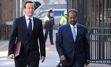 MDG : Somalia conference : PM David Cameron with Somali president, Hassan Sheikh Mohamud