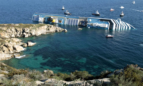 Costa Concordia on its side after running aground off the Tuscan island of Giglio.