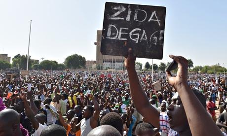 Burkina Faso protest banner