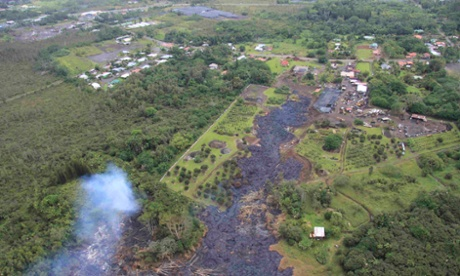 An aerial view shows the lava flow reaching towards the town of Pahoa on Hawaii island.