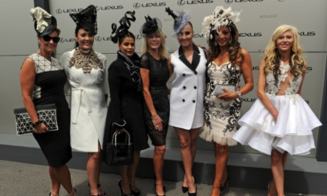 The Real Housewives of Melbourne pose for photos on Derby Day.
