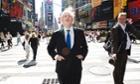 Boris Johnson, walks around Times Square in New York City.