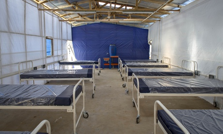Equipment wrapped in plastic inside the Kerry Town Ebola Treatment Centre in Sierra Leone before it opened